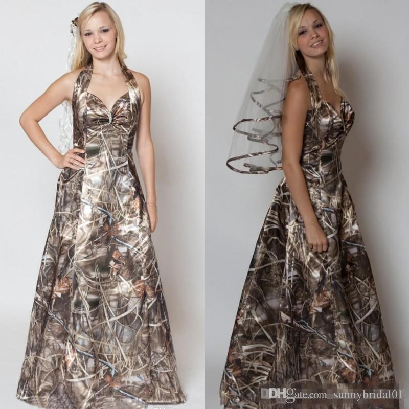 2018 A-line Halter Sweetheart Camo Wedding Dresses With Free Camo Veils For Bridal Gowns Simple Morden Realtree Camo Wedding Dresses