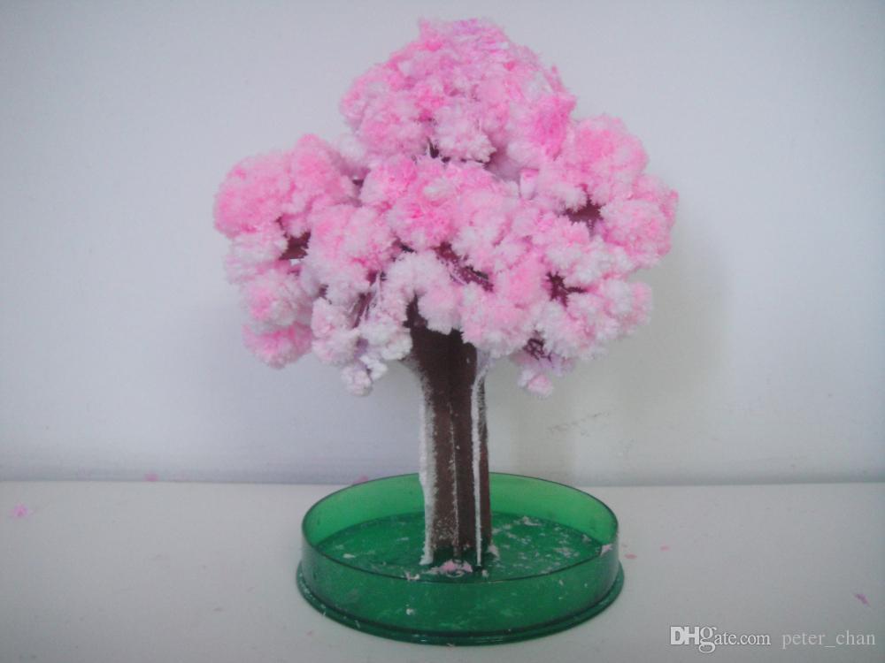 iWish 2017 Visual 14x11cm Pink Big Grow Paper Magic Japanese Sakura Tree Magically Growing Trees Kit Desktop Cherry Blossom Kids Toys 10PCS