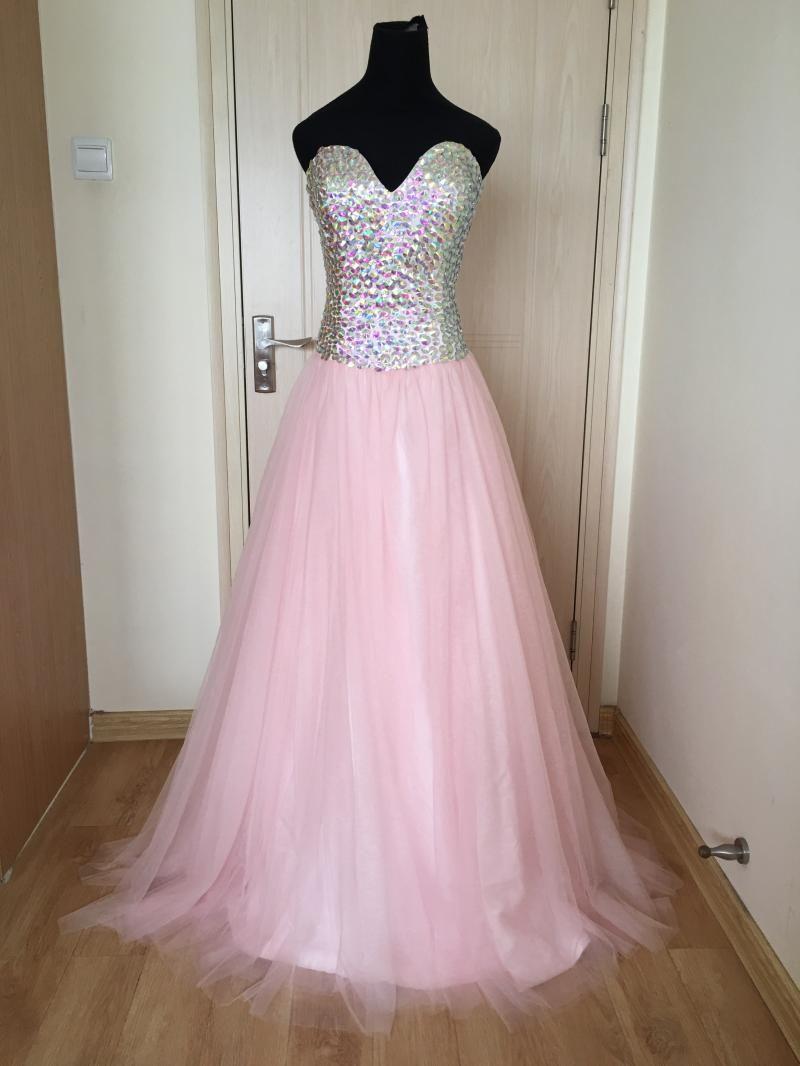섹시한 연인은 크리스탈 긴 Tulle 댄스 파티 드레스 2018 새로운 베이비 핑크 댄스 파티 가운 실제 사진을 페르시