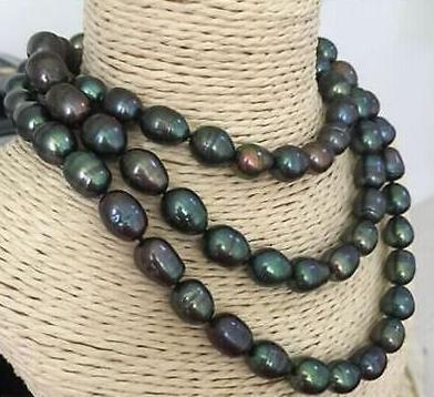 Classic 12-13mm south sea black green pearl necklace 38inch 14K gold clasp