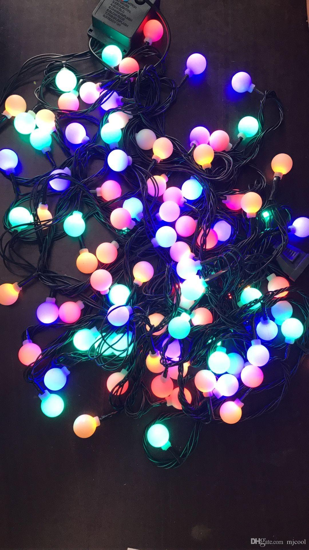 Lighting Strings 10m100 Leds Cherry Ball Fairy Lights Led Low Voltage Dark Green Line Starry Patio String Lights For Outdoor Decoration Warm White Led