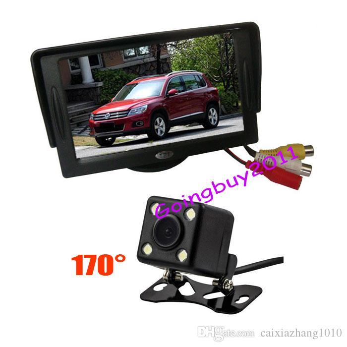"""4.3 """"Monitor LCD auto + 4 LED Retromarcia Ampia macchina fotografica Ampia Auto 170 gradi Kit di vista posteriore 5pcs / lot"""