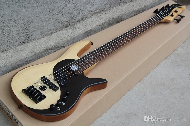 Custom Bass RARO Yin Yang Natural 5 corde Basso elettrico Ontano Corpo EMG Pickup attivi Diagramma cinese dell'universo Intarsio MOP
