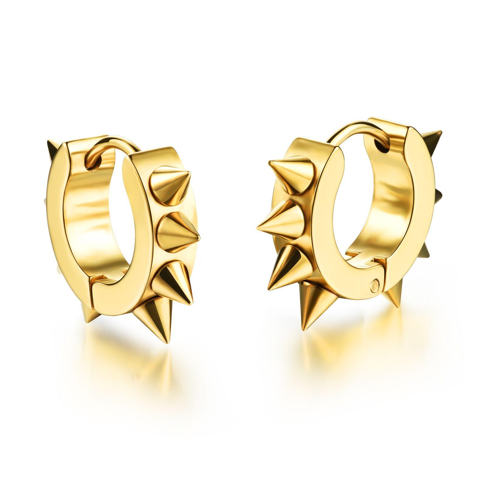 Fashion Stainless Steel Spike Rivet Hoop Huggie Earrings Punk Rock Hip Hop Mens Jewelry