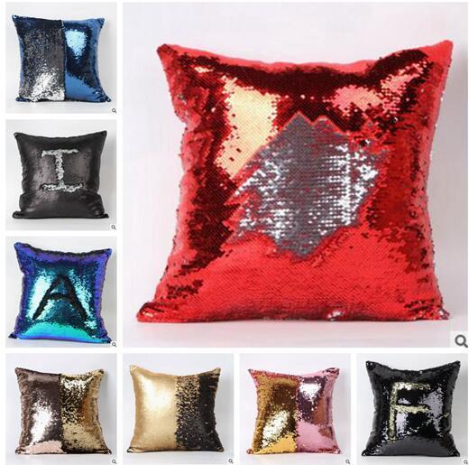 더블 장식 조각 베개 케이스 (13 개) 색상 크리스마스 인어 밝은 장식 조각 베개 장식 조각 가역 크리스마스 베개 홈 장식 베개 커버