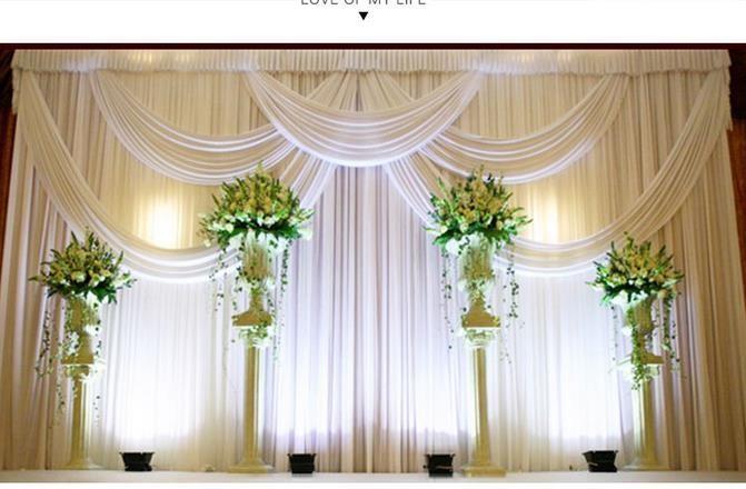 3M * 6m Milk White Wedding Vorhang Hintergründe mit Stylistin swags Strand-Hochzeit Partydekoration Hochzeit Bühnenhintergrund Satin Vorhang