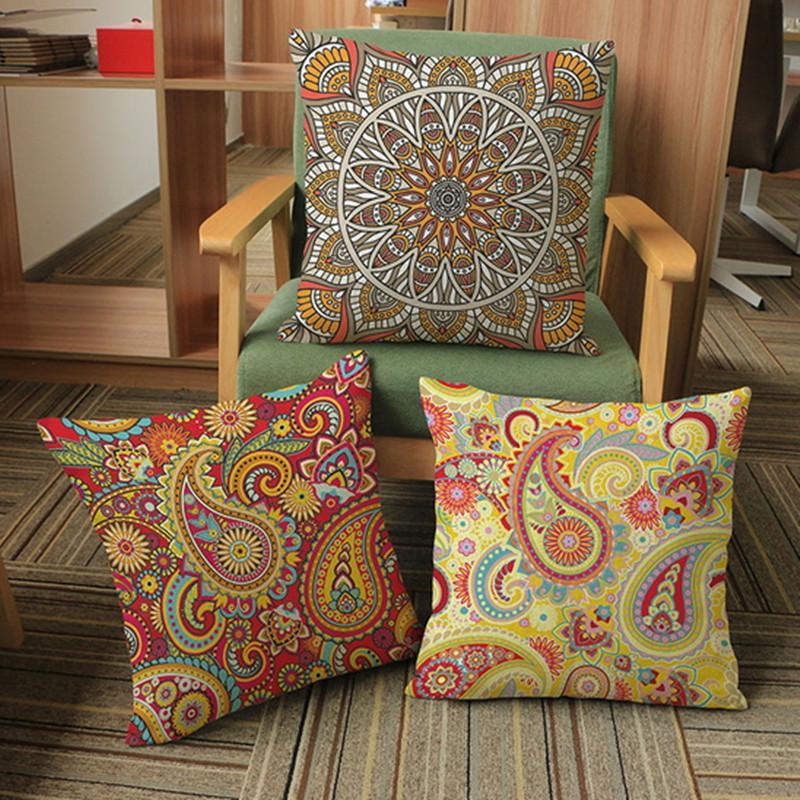 Quadrado Decorativo Fronha Design Throw Pillow Case Impressão Decoração Capa de Almofada Quadrado Fronha Estilo Boêmio Padrões Simples