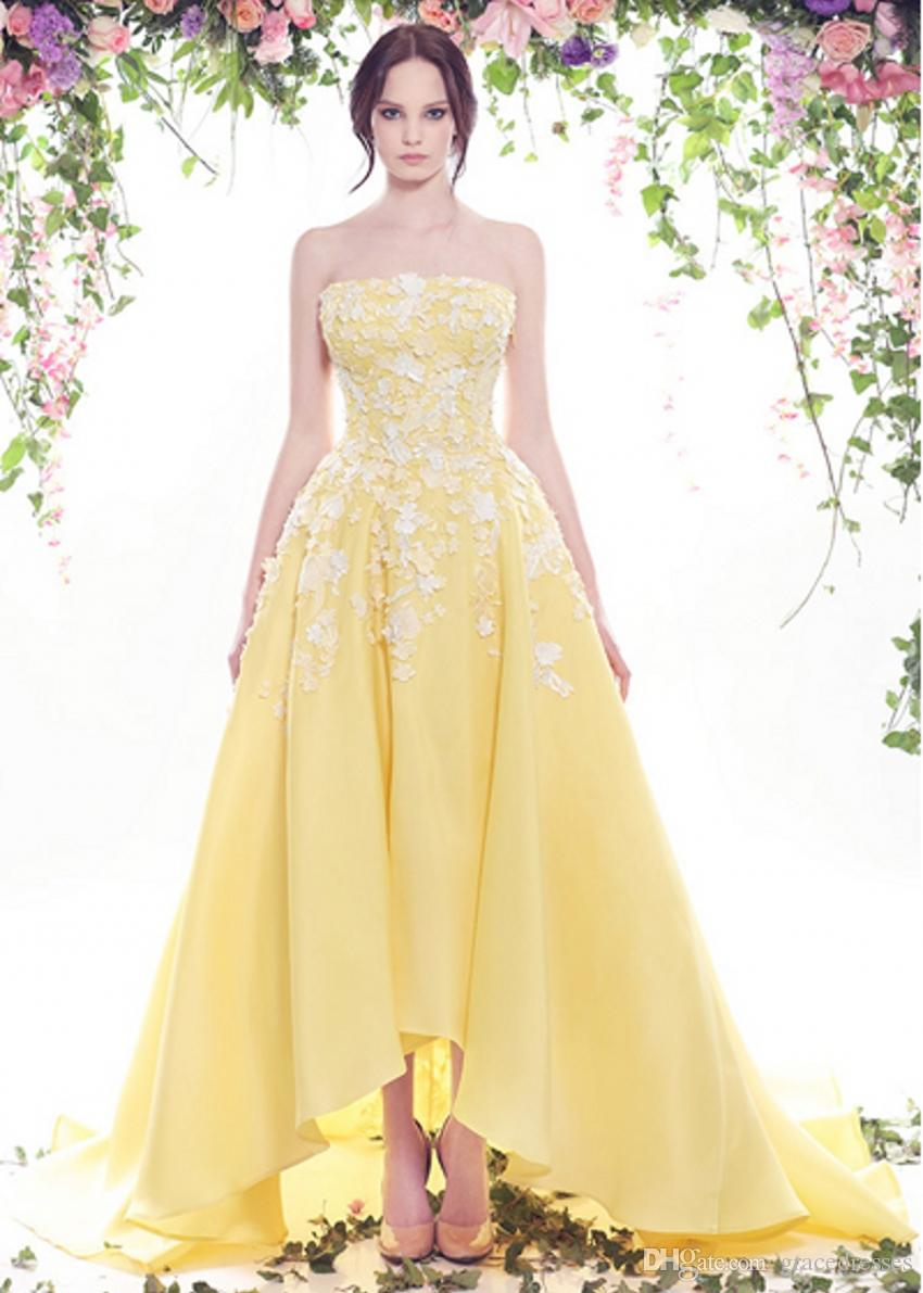 discount yellow wedding dress white lace ed bridal design strapless  neckline zipper backless high low bride gown short front long back new  bridal
