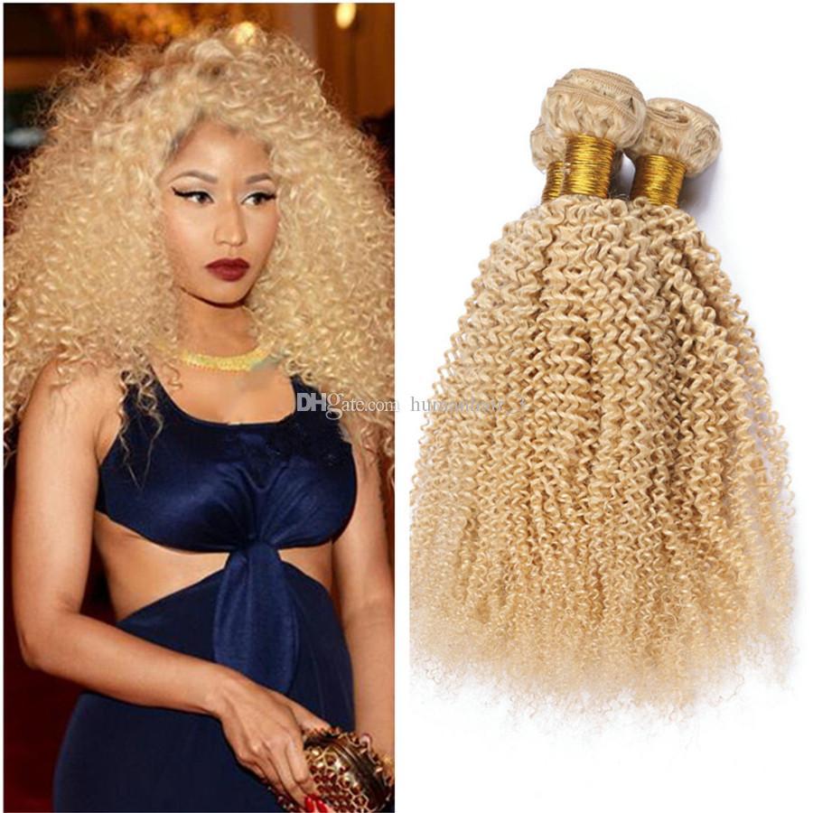 Blonde Afro Kinky Hair Bundles # 613 Platinum Blonde Deep Kinky Curly Mongolian Virgin Human Hair de calidad superior tramas 3pcs