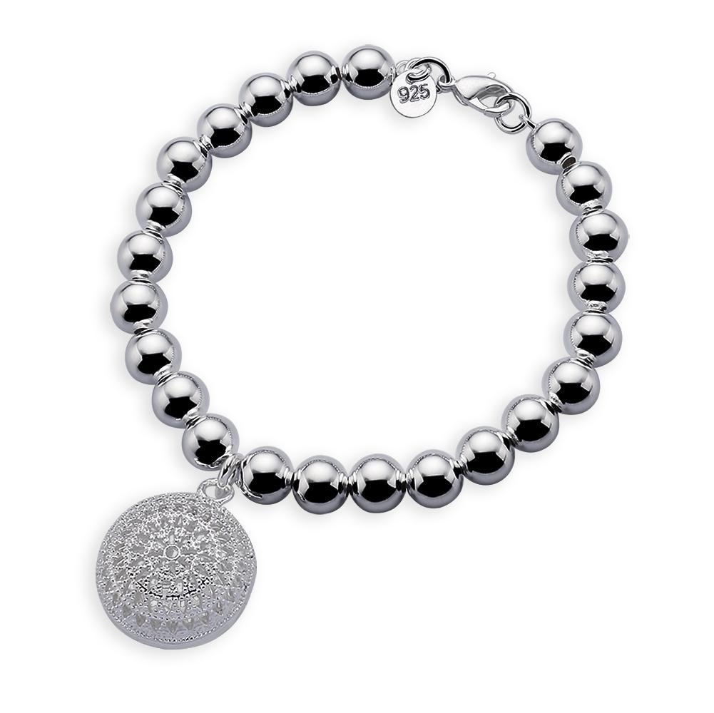 925 al por mayor cadena de copo de nieve esterlina de plata de bolas pulsera de plata colgante redondo