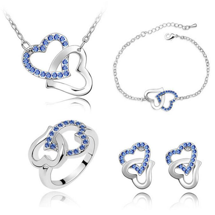 18K White Gold Plated Double Austrian Crystal Heart Necklace Earrings Ring Bracelet Jewelry Set Made With Swarovski Elements for Women 4pcs