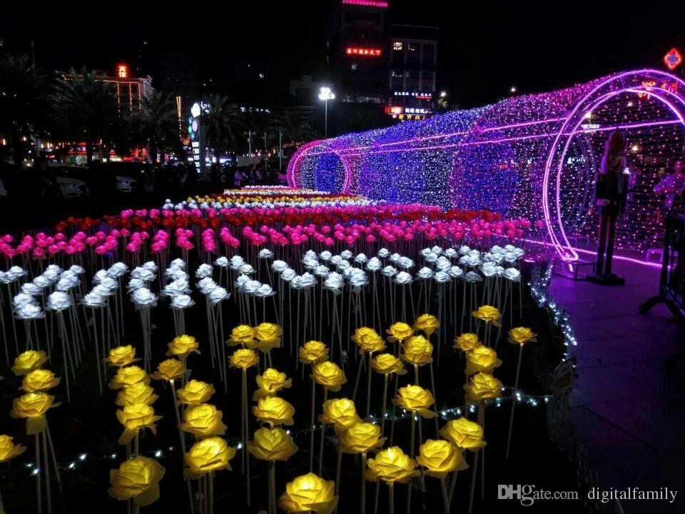 LED 랜턴 쇼 꿈 빛 LED 장미 꽃 화려한 LED 야외 광장 풍경 공원 반짝 이는 휴일 조명 20pcs / lot