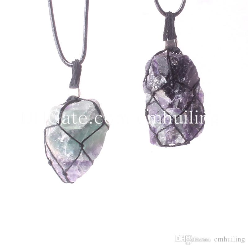 Rope Wrapped Random Size Raw Fluorite Stone Crystal Necklaces Chokers Healing Chakra Freeform Natural Layering Fluorite Nugget Gemstone Bead