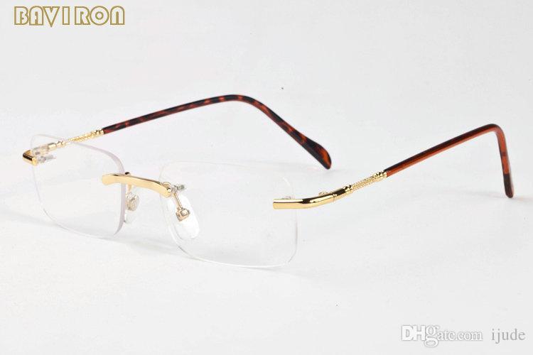 с коробкой 2017 без оправы солнцезащитные очки золото серебро металлические нити прозрачные линзы очки для мужчин женщин свет солнцезащитные очки люнеты де солей