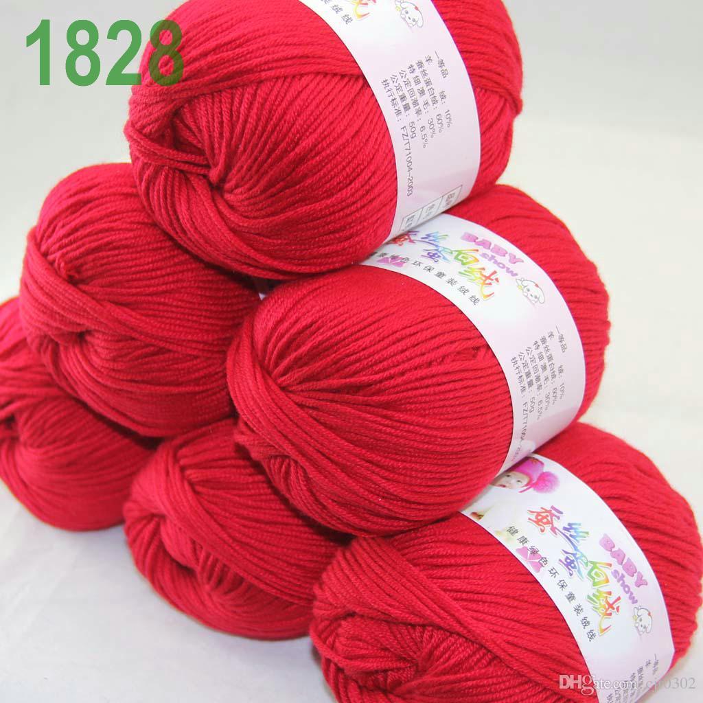 Продажа много 6 шаров х 50 г кашемир шелковый бархат детская пряжа действительно красный 18-28