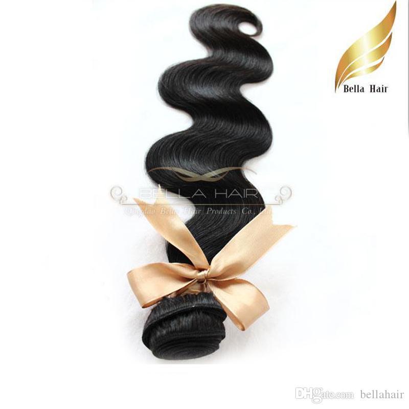 """El pelo brasileño virginal sin procesar del pelo humano teje extensiones 10 """"-34"""" Body Wave 1pc Tramas del pelo Color natural Bellahair"""