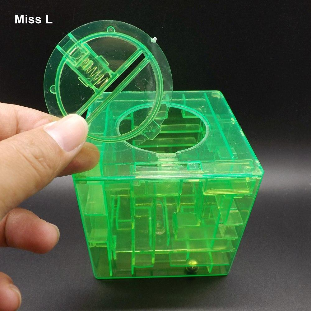 Green Money Maze Bank Jeu de puzzle 3D Économiser des pièces de monnaie Case Case Case enfants cadeau Jeu d'esprit