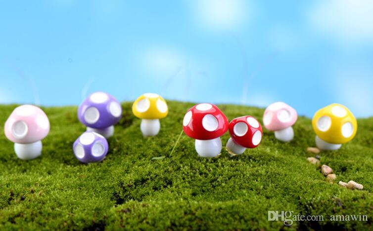 Mini Landscaping Plant Resin Mushroom for Miniature Fairy Garden Patio Home Houses Decoration