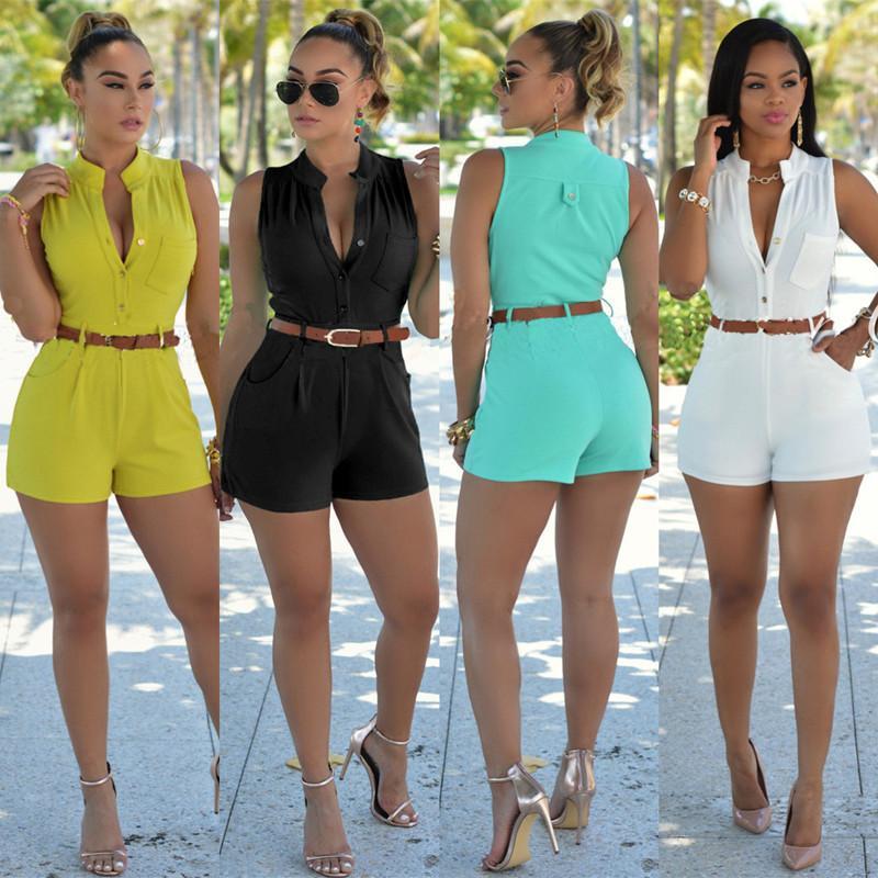 2016 летний комбинезон bodycon Комбинезон женский комбинезон без рукавов шорты S-XXL плюс размер боди однобортный комбинезоны с поясом 6 цветов