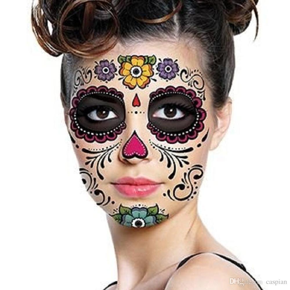 Halloween Day Of The Dead Dia de los Muertos Maschera impermeabile autoadesivo del tatuaggio per il trucco di bellezza faccia festa in maschera