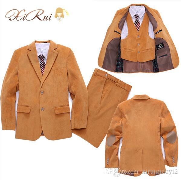 Corduroy Kid Boy Wedding Suit/Boys' Formal/Boy Blazers/Gentlemen Boys Suits For Weddings (Blazer+Pants+Vest)