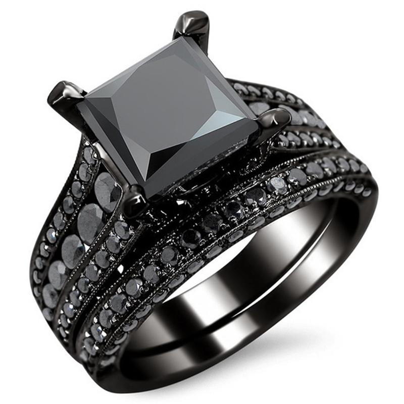 princess cut black zircon bridal set black gold filled solid ring set 2016 top fashion black - Black Wedding Rings Sets