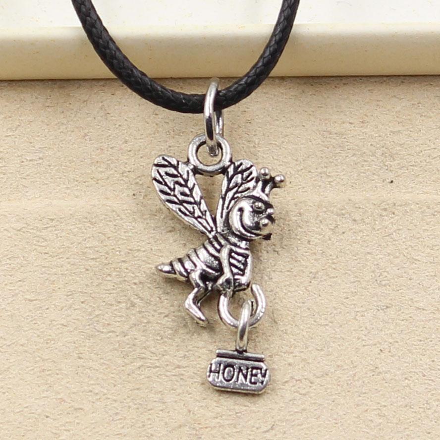 12pcs nuevo de la manera colgante de plata tibetano de abeja 19 * 12mm Collar Gargantilla Negro Charm cordón de cuero del precio de fábrica hecha a mano Jewlery