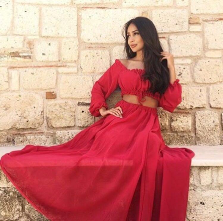 Två Piece Prom Party Dresses Arabia Dubai En Linje Golv Längd Röd Chiffon Långärmad Formell Party Evening Gowns 2016