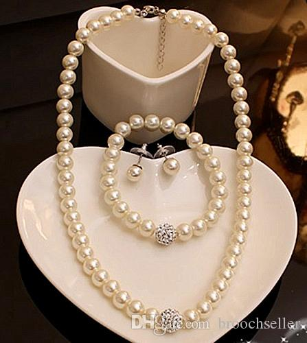 High Quality Cream Glass Pearl and Disco Rhinestone Ball Women Bridal Necklace Bracelet and Earrings Wedding Jewelry Sets