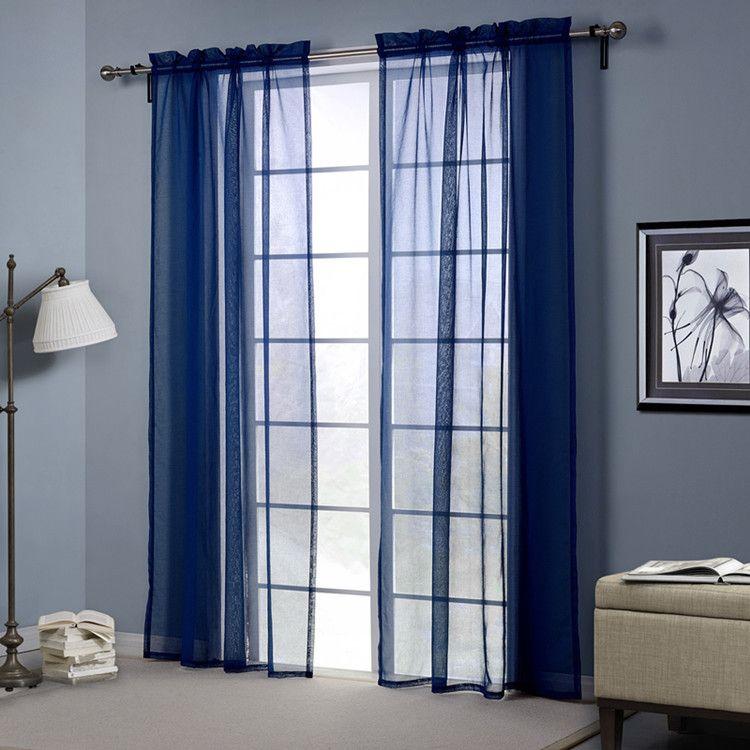 Bleu Couleur Sheer rideaux Doris Tissu haute fenêtre Rideaux fil blackout 2 Ensemble de panneaux poche tige 2,5 pouces