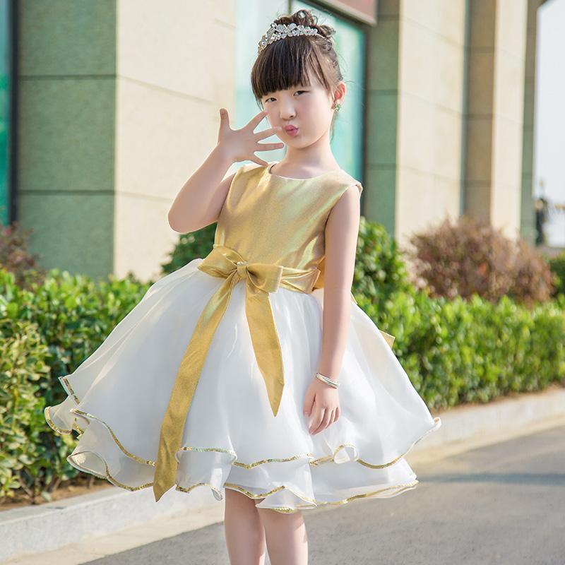 Compre Vestidos Dorados Para Niñas De Flores Sin Mangas Hasta La Rodilla Por Encargo Vestidos De Boda Para Niños A 598 Del Huangshi520 Dhgatecom