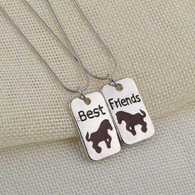 Best Friends Womens Necklace Set Silver Plated Split Joint Debossed Horse Necklaces Gift Idea Unique Jewelry Chokers Necklaces