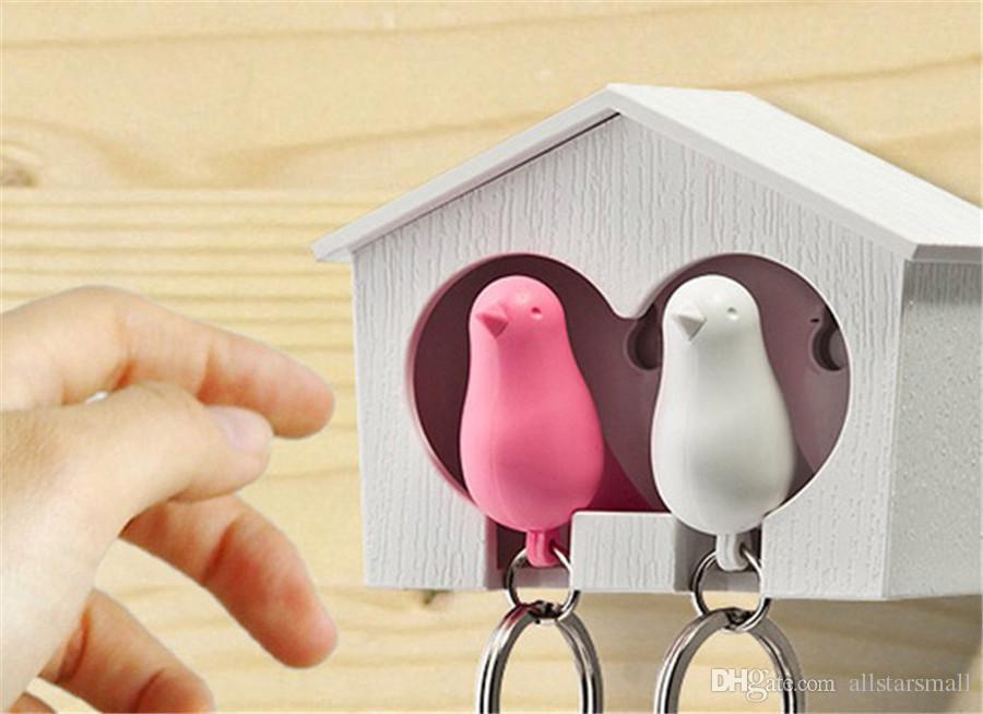 Oiseaux d'amour Birdhouse Keychain DUO Sparrow oiseau porte-clés Deux oiseaux nouveauté Home Decoration valentines