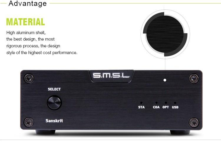 SMSL Latest 6th Sanskrit USB DAC 32BIT192Khz Coaxial SPDIF Optical Hifi Audio Amplifier Decoder New Version With Power Adapter 5