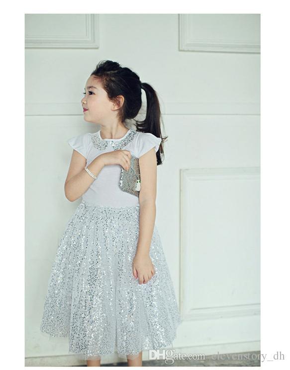 새로운 여자 여름 아기 의류 세트 (탑 + 스커트) 핫 판매 어린이 반짝이 옷 도매 면화 의류, 5BN502CS-27 [ElevenStory_dh]