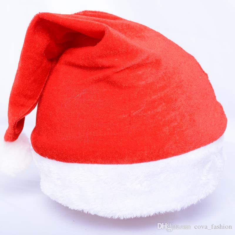 Pleuche Chapeau De Noël Rouge Simple Chapeaux De Noël Dec. Fête Du Festival Fournitures De Fête 28 * 45cm Pour les adultes 50 pcs par lot ELCD002