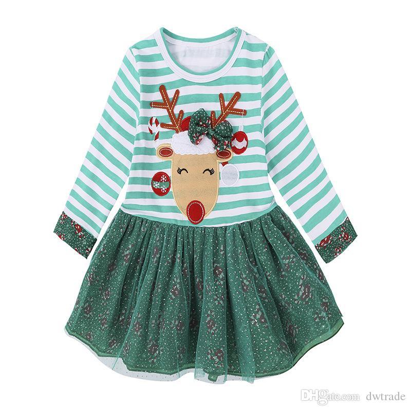 Children Girls Stripe Dress Christmas Elk Lace Dresses Stripe Christmas Suits Kid Girls Xmas Long Sleeve Shirt Skirt