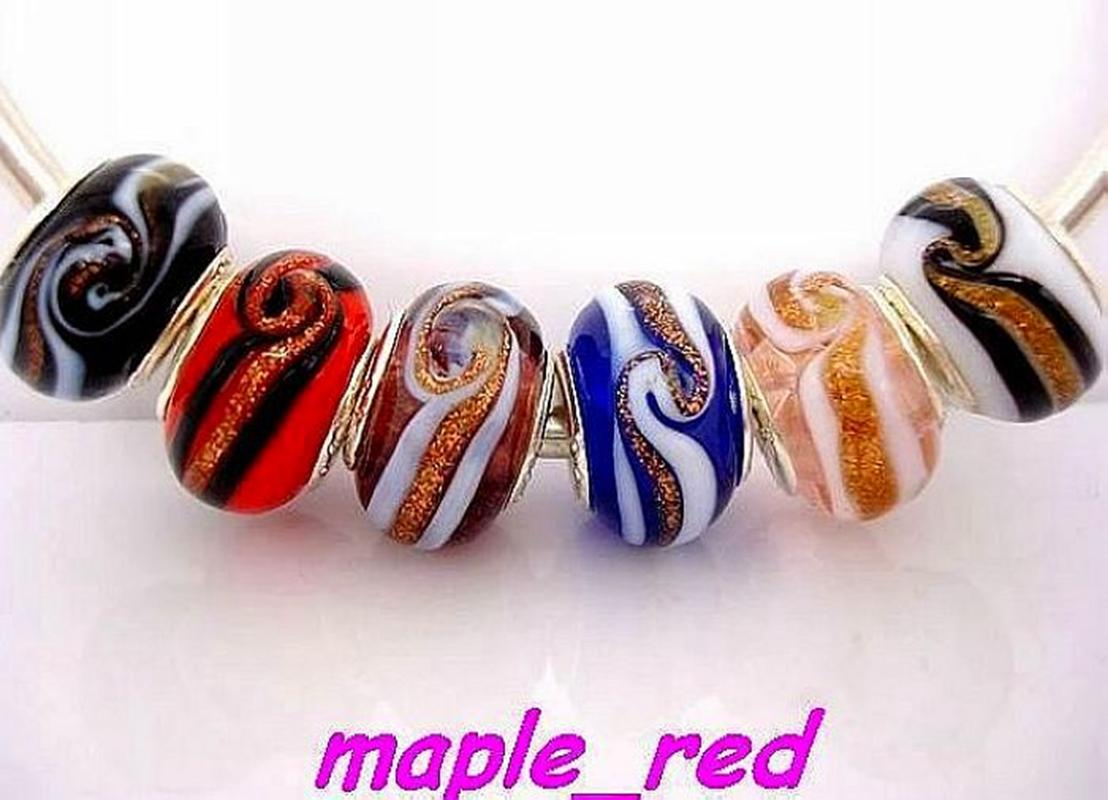 50PCS Mixed Beatfiful Whirlpool Patten Lampwork Glass 925 silver core Beads Fit European Charm Bracelet and Necklace Jewelry
