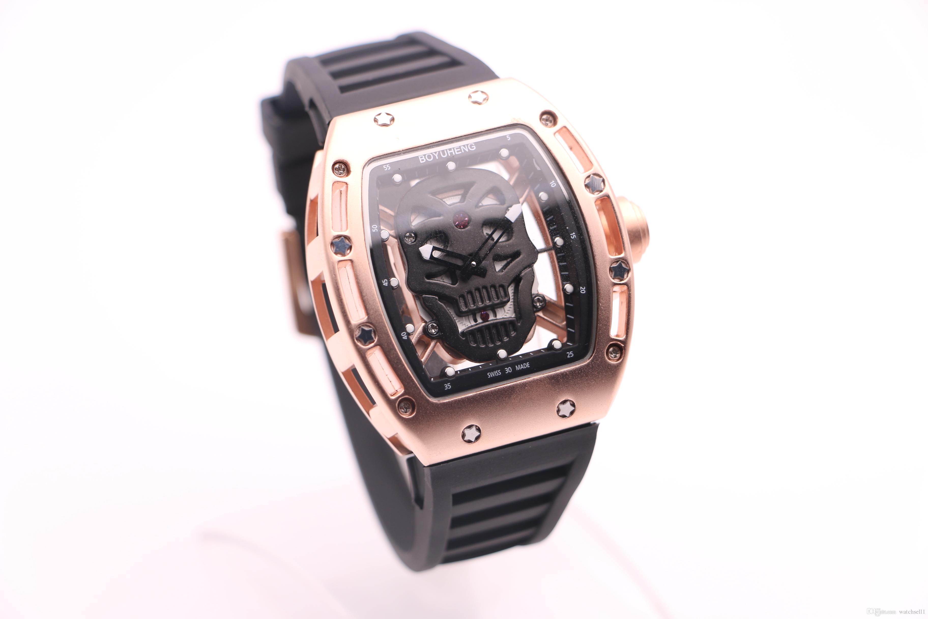 BOYUHENG 052 человек хороший часы черный череп циферблате человека коричневый резиновый коричневый круг золота стальной корпус кварцевые часы