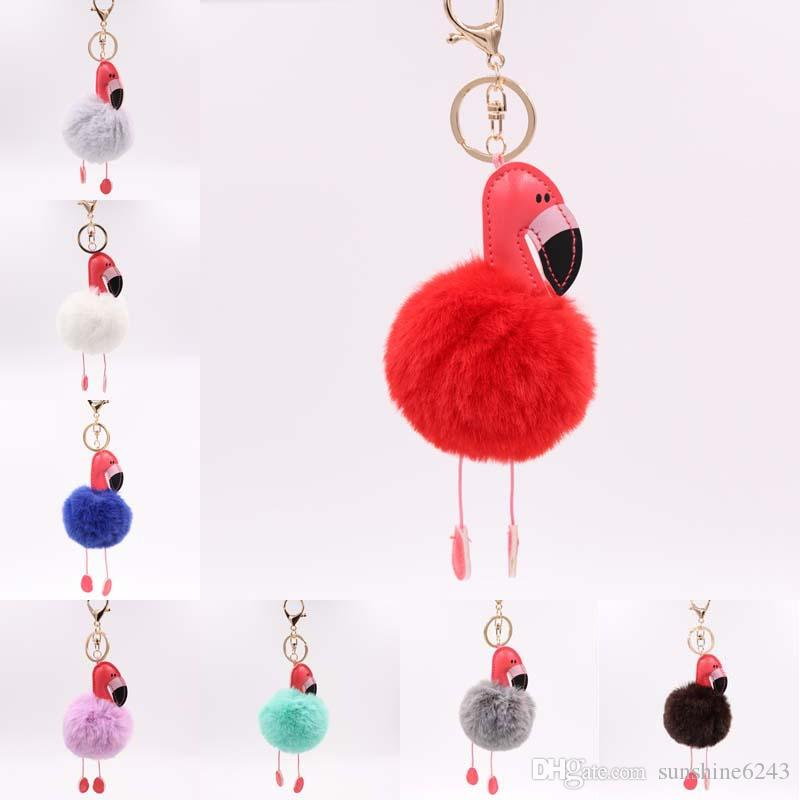 Cartoon Flamingo Keychain Fluffy Artificial Rabbit Fur Ball Key Chain Car Bag Key Ring Pendant 32 Colors