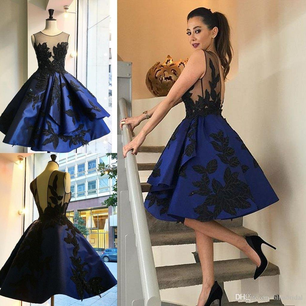 Illusion Appliques Short Royal Blue Evening Dresses Knee length OPen Back Sequined Party Dresses Satin Puffy Prom Gowns