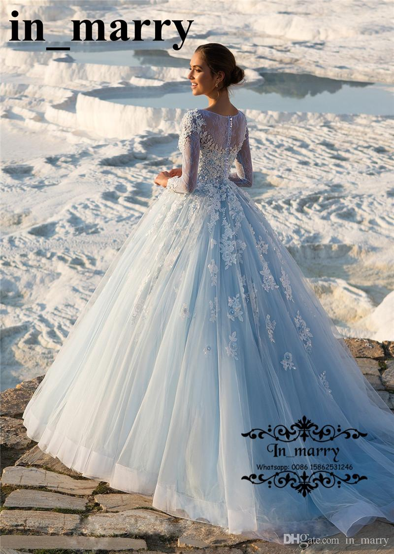 Discount Sparkly Ice Blue Vintage Lace Country Wedding Dresses 2018 ...