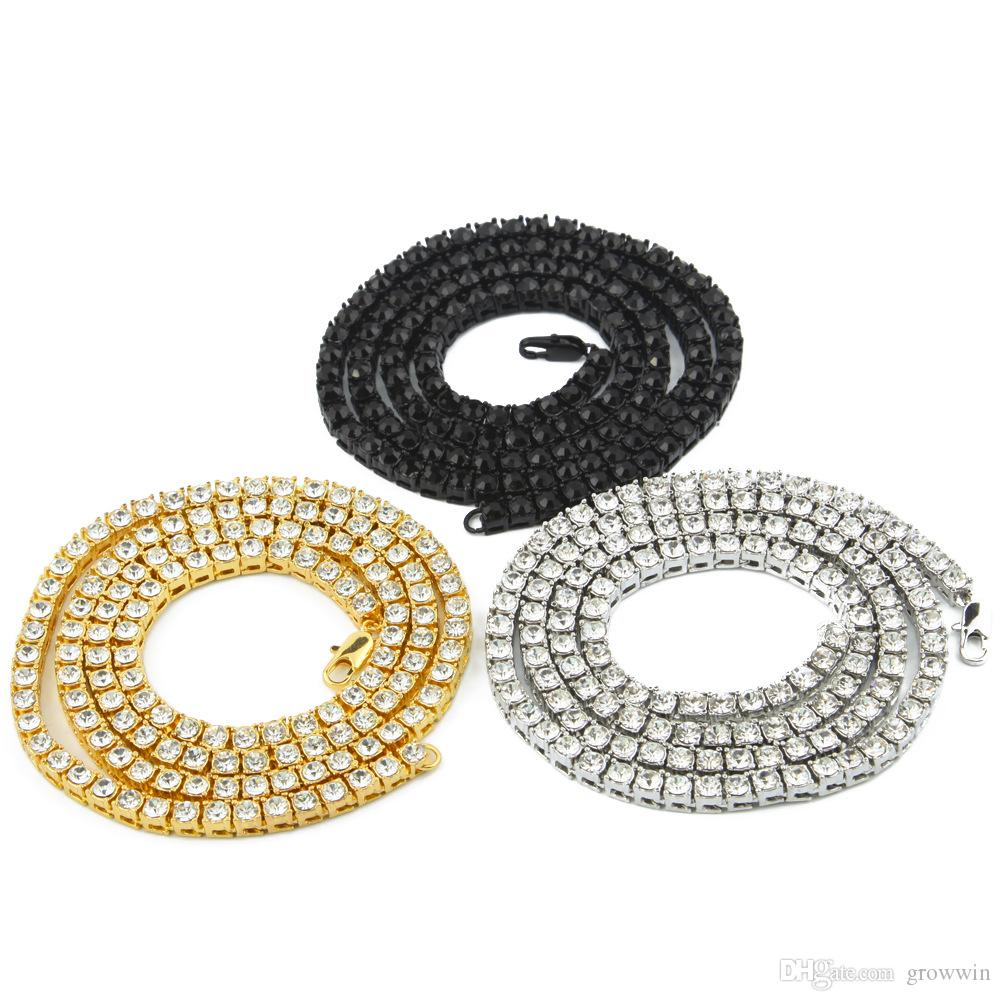 Crystal Diamond Rhinestone Necklace Choker Wedding Multi Row Alloy Round Gem Chain Necklace Rapper Chunky Fashion Boys Bling CZ JewelryD0174