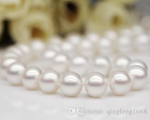 10-11mm Südsee weiße natürliche Perlenkette 18 Zoll 925 Silber Verschluss