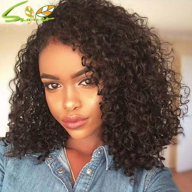 Capelli vergini peruviani non trasformati crespi ricci glueless parrucche piene del merletto anteriore parrucche dei capelli umani per le donne nere
