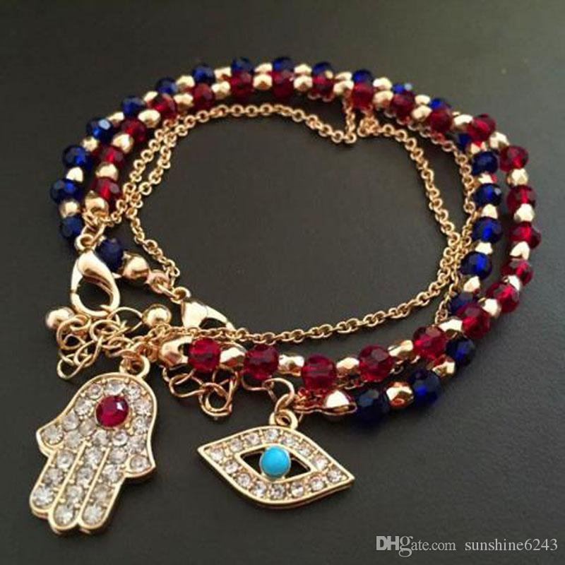 Fashion Colorful Fatima Hand Rotation Evil Eye Charms Crystal Glass beads Bracelets For Men Women Gifts free shipping