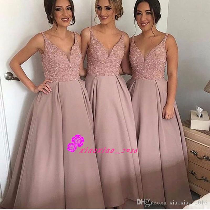 Sheer V Neck Spaghetti Straps 2016 A Line Hi Lo Bridesmaid Dresses ...
