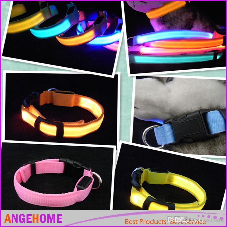 8 colores LED colorido de dos caras luz intermitente perro gato collar con correa ajustable lindo amor mascota collar envío gratis