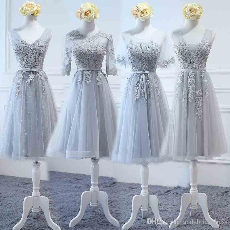 Vintage Tea-Length Lace Appliqued Tulle Grey Bridesmaid Dresses Cheap For Sale Short Convertible Dresses For Wedding Party
