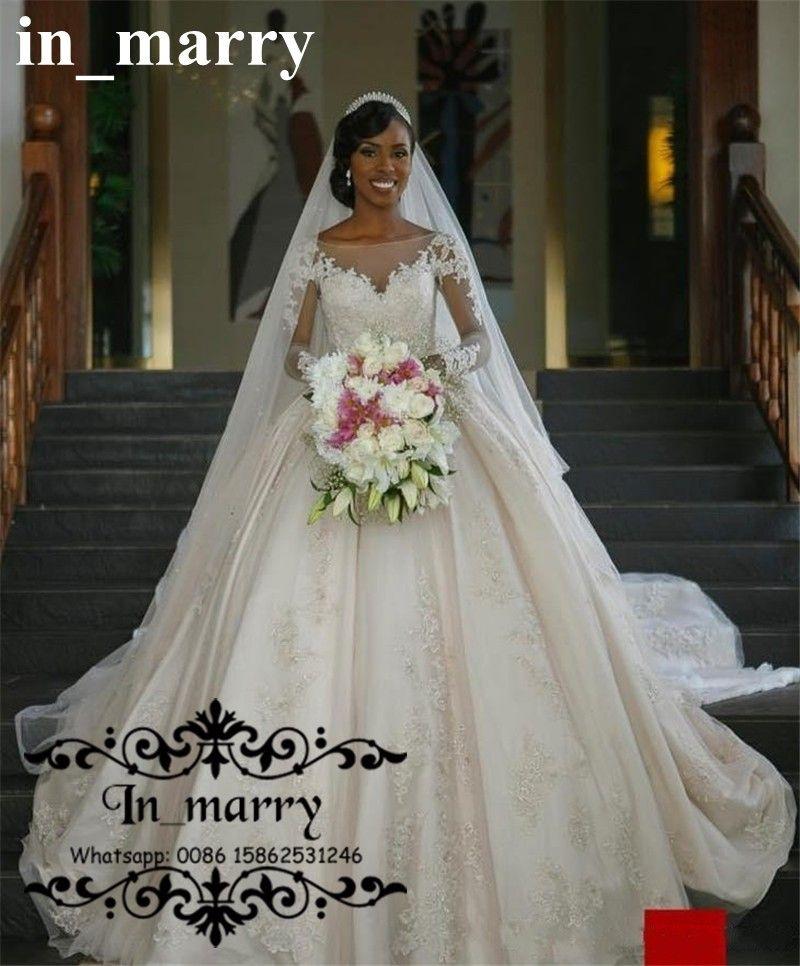 Bellanaija African Ball Gown Wedding Dresses 2017 Vintage Lace Long ...